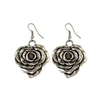 Rose Carve Pendant Hook Earrings