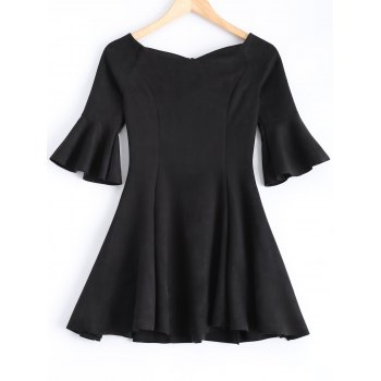 Bell Sleeve Suede Slimming Dress