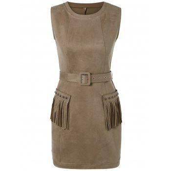 Suede Pocket Design Fringed Stud Embellished Dress