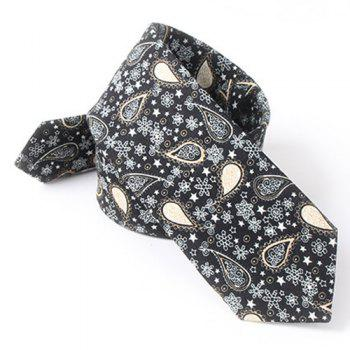 Casual Paisley and Snowflake Pattern 6CM Width Tie - BLACK