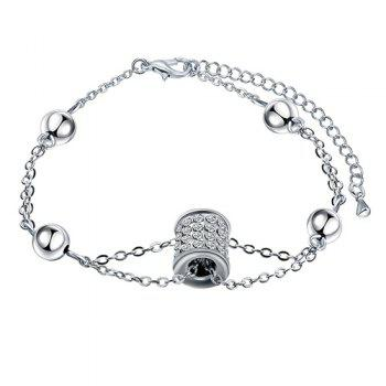 Geometric Cylinder Ball Decorated Faux Diamond Bracelet