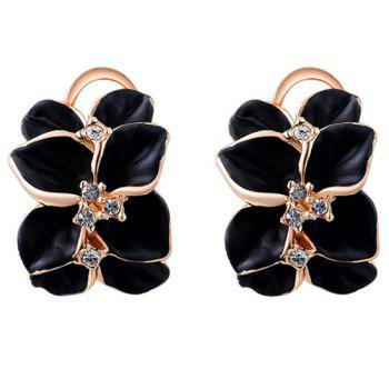 Roseleaf Rhinestone Clip Earrings