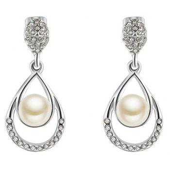 Faux Pearl Embedded Drop Earrings