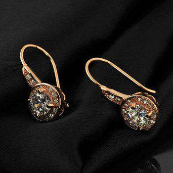 Round Shape Zircon Faux Crystal Hook Earrings - ROSE GOLD