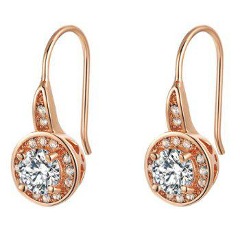 Round Shape Zircon Faux Crystal Hook Earrings