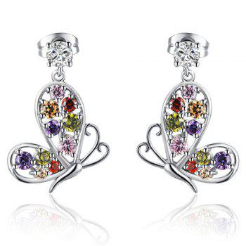 Butterfly Faux Zircon Drop Earrings