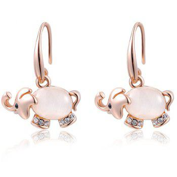 Rhinestone Faux Opal Elephant Drop Earrings