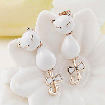 Faux Crystal Bowknot Kitten Earrings