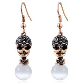 Rhinestoned Skull Flower Faux Opal Earrings