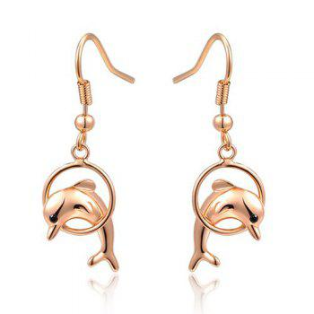 Dolphin Hollow Out Circle Drop Earrings