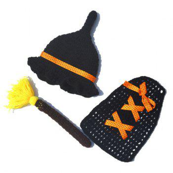 Enchanter Design Hand Crochet Knitting Photography Baby Clothes Set -  BLACK