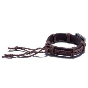Engraved Jesus Faux Leather Woven Bracelet - BROWN