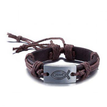 Engraved Jesus Faux Leather Woven Bracelet