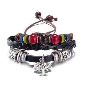 PU Leather Life Tree Charm Bracelet