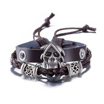 PU Leather Woven Devil Skull Bracelet