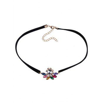 Faux Crystal Velvet Floral Choker Necklace