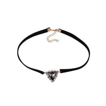 Faux Gem Velvet Triangle Choker Necklace