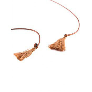 Faux Leather Rope Bowknot Tassel Choker - BROWN