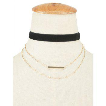 Velvet Layered Bar Pendant Choker Necklace