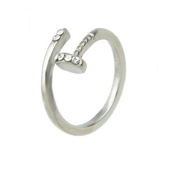 Alloy Rhinestone Nail Shape Cuff Ring