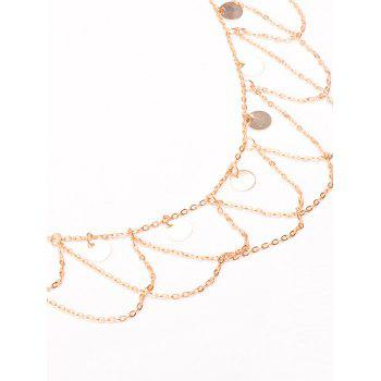 Round Sequins Wave Tassel Belly Chain -  GOLDEN