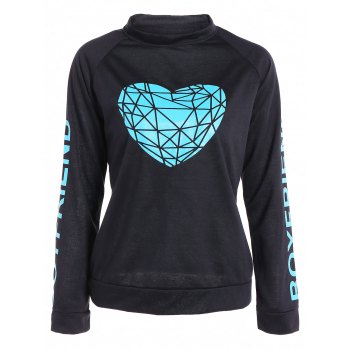 Active Raglan Sleeve Heart Pattern Sweatshirt