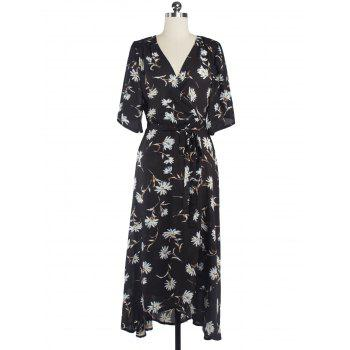 Floral Chiffon Surplice Long Summer Dress