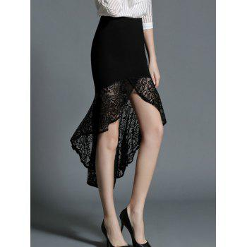 High Waist Flounce Laciness Skirt