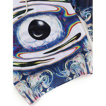 Abstract Eye Printed Pullover Hoodie - PURPLISH BLUE 2XL