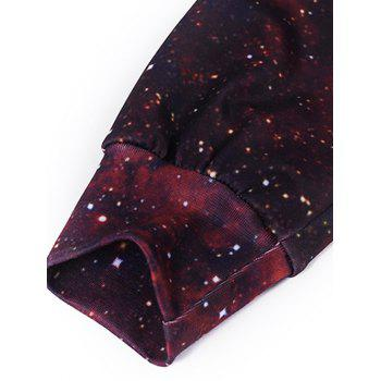 3D Plant Printed Pullover Galaxy Hoodie - WINE RED M