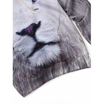 3D All Over Lion Printed cool Hoodie - Blanc XL