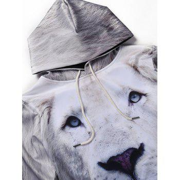 3D All Over Lion Printed cool Hoodie - Blanc L