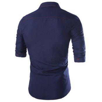 Turn-Down Collar Long Sleeve Multi-Pocket Epaulet Design Shirt - CADETBLUE CADETBLUE