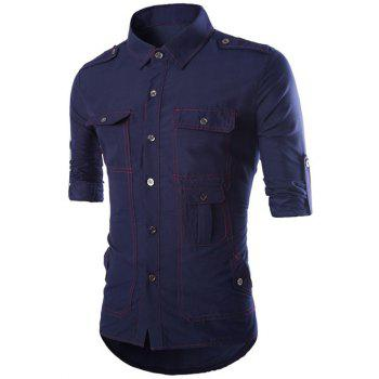 Turn-Down Collar Long Sleeve Multi-Pocket Epaulet Design Shirt