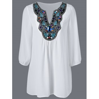 Embroidered Maxican Peasant Chiffon Blouse