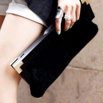 Suede Faux Fur Clutch Bag - BLACK BLACK