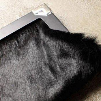 Suede Faux Fur Clutch Bag -  BLACK