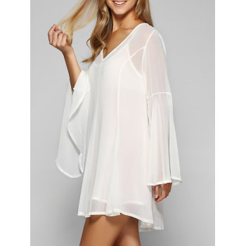 Slip Dress and Bell Sleeve Chiffon Smock Dress Twinset
