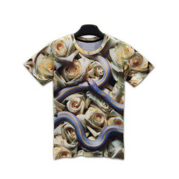 Round Neck Short Sleeve 3D Snake and Flowers Print T-Shirt