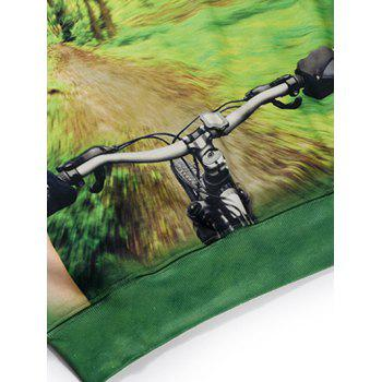 Round Neck Long Sleeve 3D Forest and Bicycle Print Fleece Sweatshirt - GREEN M