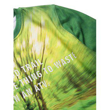 Round Neck Long Sleeve 3D Forest and Bicycle Print Fleece Sweatshirt - GREEN S