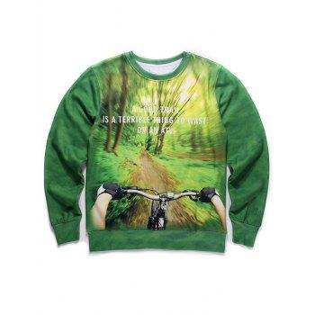 Round Neck Long Sleeve 3D Forest and Bicycle Print Fleece Sweatshirt