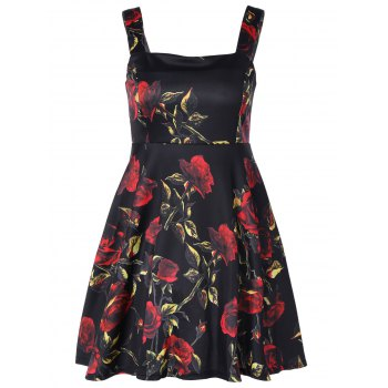 Square Neck Flower Print Fit and Flare Dress