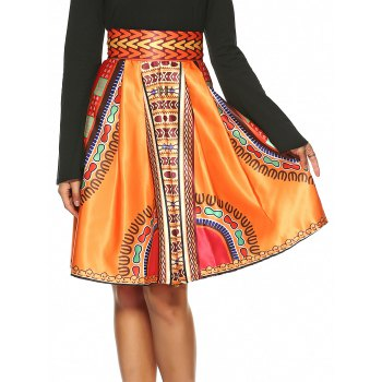Vintage Knee-Length African Skirt
