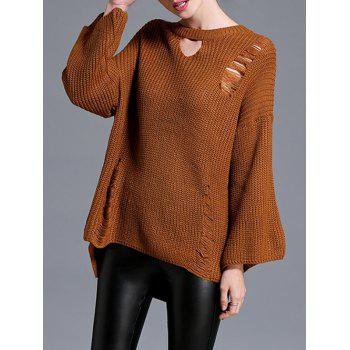 High Low Pullover Sweater - BROWN BROWN