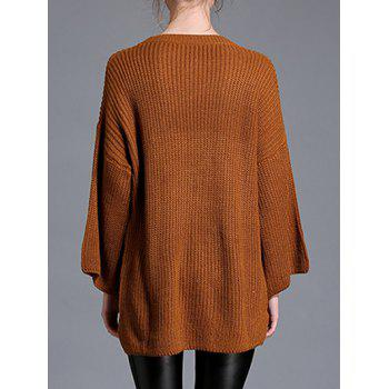 High Low Pullover Sweater - BROWN ONE SIZE