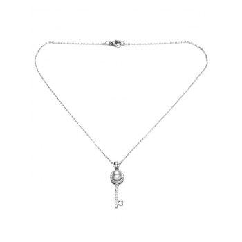 Faux Pearl Rhinestone Key Pendant Necklace -  SILVER