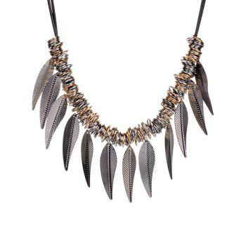 Alloy Circle Leaves Statement Necklace -  SILVER