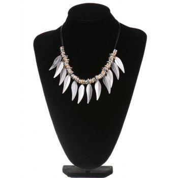 Alloy Circle Leaves Statement Necklace - SILVER SILVER