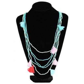 Bohemian Multilayer Bead Tassel Statement Necklace